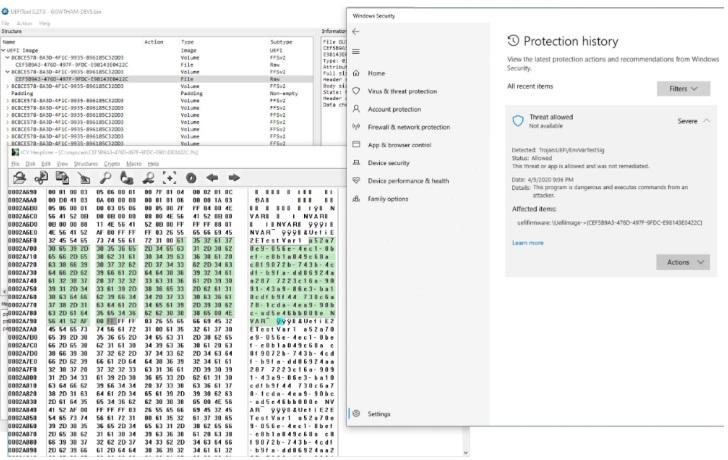 微软Win10 Defender杀毒软件增加UEFI扫